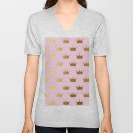 Gold Glitter effect crowns on pink - Royal Pattern for Princesses Unisex V-Neck