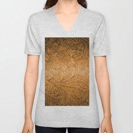 Golden Tan Tooled Leather Unisex V-Neck