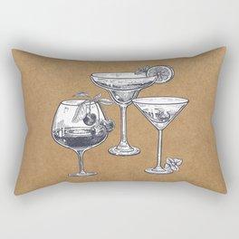 Vintage Cocktails on Kraft Rectangular Pillow