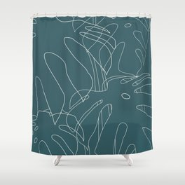 Monstera No2 Teal Shower Curtain