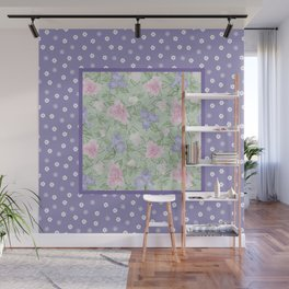 Flower Play Antique over Purple Tiny Flowers Wall Mural