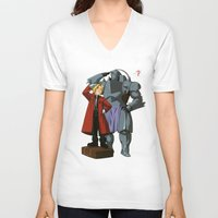 fullmetal alchemist V-neck T-shirts featuring Alchemist of Steel by CromMorc