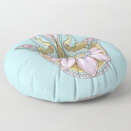 Hamsa On Turquoise Floor Pillow