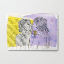 Woman Looking in a Mirror Metal Print