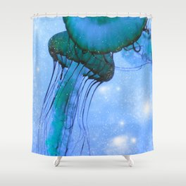 Blue Glow Jelly Fish Shower Curtain