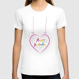 Happy birthday. pink heart on White background. T-shirt