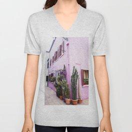 Purple house | Italy venice | Cactus Unisex V-Neck