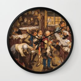 Pieter Brueghel The Younger - The Tax Collectors Office Wall Clock