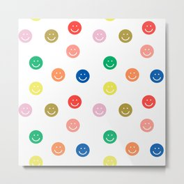Smiley faces happy simple rainbow colors pattern smile face kids nursery boys girls decor Metal Print