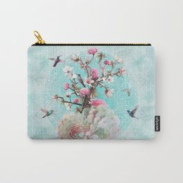 FLORAL HUMMINGBIRD Carry-All Pouch