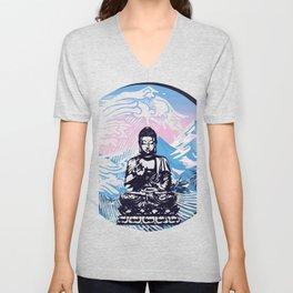 Buddha Tropical Mountain Wave Unisex V-Neck