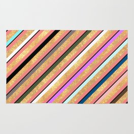 Abstract geometrical colorful gold glitter stripes Rug