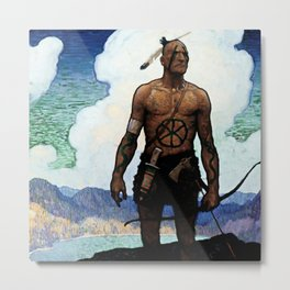 "N C Wyeth Western Painting ""The Mohican"" Metal Print"