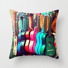 las guitarras. spanish guitars, Los Angeles photograph Throw Pillow