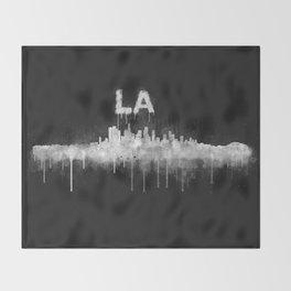 Los Angeles City Skyline HQ v5 WB Throw Blanket