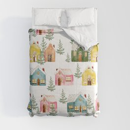 Colorful Winter Cottages Comforters