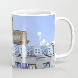 Digital Painting of Traditional Quebecois Buildings on a Winter's Day in Old Port Montreal Coffee Mug