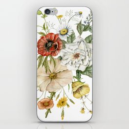 Wildflower Bouquet on White iPhone Skin