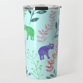 Watercolor Flowers & Elephants II Travel Mug