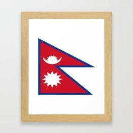flag of nepal-nepal,buddhism,Nepali, Nepalese,india,asia,Kathmandu,Pokhara,tibet Framed Art Print