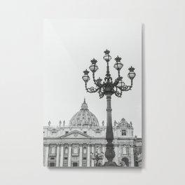 Basilica Lamppost B&W Metal Print