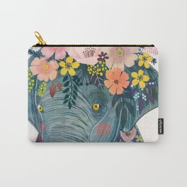 Elephant with flowers on head Carry-All Pouch