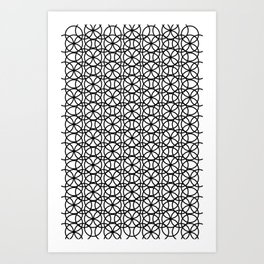 Circle Heaven Black and White, Overlapping Ring Pattern Illustration Art Print