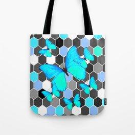 NEON BLUE BUTTERFLIES ON MODERN ABSTRACT ART Tote Bag