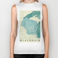 wisconsin Biker Tanks featuring Wisconsin State Map Blue Vintage by City Art Posters