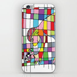 A man and a little dog in the net iPhone Skin