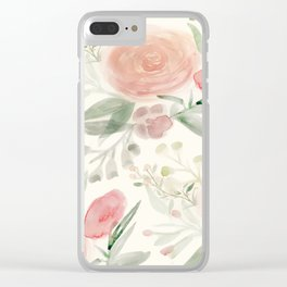 Blush Roses Watercolor Clear iPhone Case