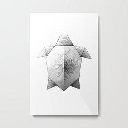 Turtle Origami Metal Print