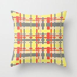 woven design orange yellow and gray Throw Pillow