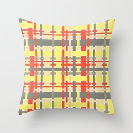 woven design orange yellow and gray Throw Pillow