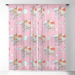 Lion Head Goldfish Pink Sheer Curtain