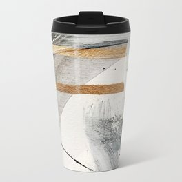 Armor [7]: a bold minimal abstract mixed media piece in gold, black and white Metal Travel Mug