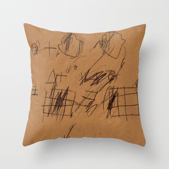 BLACK DRAWINGS I Throw Pillow