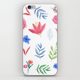 Blue Aster - Watercolor Floral Style, Individual Watercolor Wedding Flowers Clipart Print Design iPhone Skin