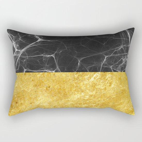 Black Marble and Gold Rectangular Pillow