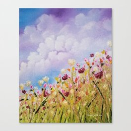 Look to the light, skyscape, landscape, flowers, wild flowers, clouds Canvas Print