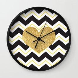 Golden Glittery Heart Wall Clock