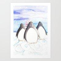 We Three Penguins Art Print