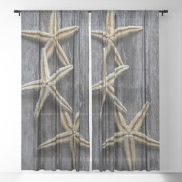 Starfishes in wooden Sheer Curtain