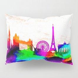 The International Skyline Watercolor Pillow Sham