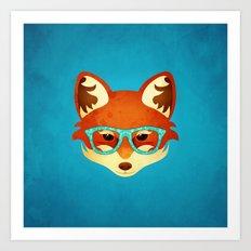 Hipster Fox: Azure Art Print