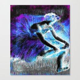 Black Ballerina  Violet Turquoise Blue Canvas Print