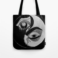 ying yang Tote Bags featuring ying yang by ivette mancilla