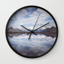 Mountain Lake Reflection - Landscape and Nature Photography Wall Clock