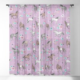 Purple Horse and Flower Print, Hand Drawn, Horse Illustration, Little Girls Decor Sheer Curtain