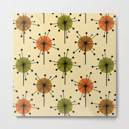 Atomic Era Sputnik Starburst Flowers Earth Tones Metal Print